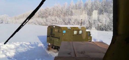 Трактор Кировец по зимней степи