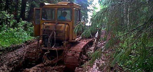 Гусеничный трактор на бездорожье