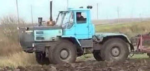 Трактор Т-150К вспашка плугом ПЛН-5-35