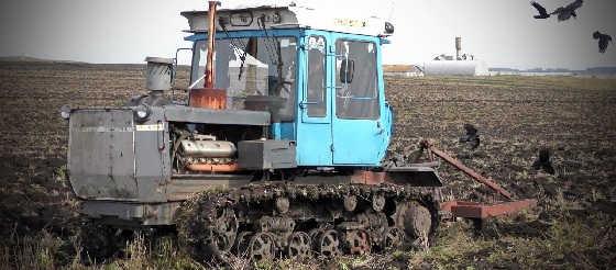 Гусеничный трактор ХТЗ-181 пашет модернизированным плугом от трактора Т-150