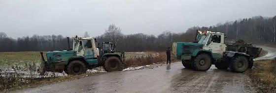 Трактор Т-150К против гололёда