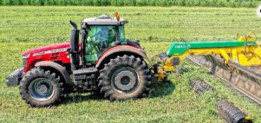Тракторы Massey 8737S и 7624 с валкообразователями OXBO 2334