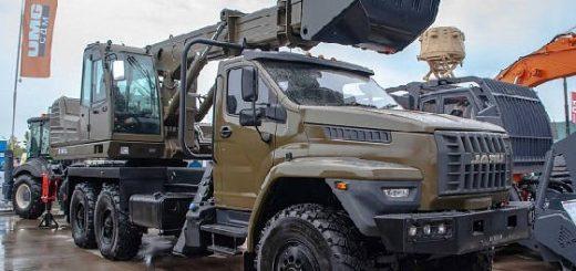Полноповоротный экскаватор на вездеходе Урал